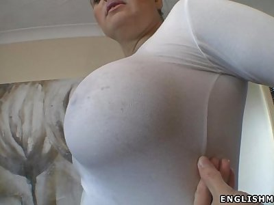 Big tits English milf wet boobs