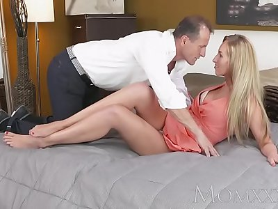 MOM Stunning blonde MILF with amazing body sucks and fucks guys hard cock